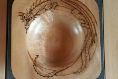 Square Bowl with Pyrographed Dragon